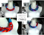 Upcycled HYBRIO scarf-necklace/Recycled blue/orange/Woman's/Handmade colorful/Repurposed material/Soft/Eco friendly/Jersey stripes