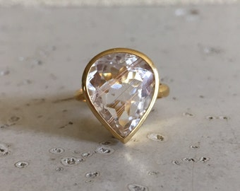 Unique Engagement Ring- Gold Rutliated Quartz Ring- Pear Shape Statement Ring- Artisan OOAK Ring- Gold Gemstone Ring