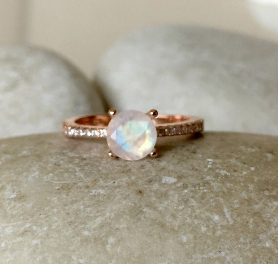 Rose Gold Moonstone Engagement Ring 4 Prong Promise Ring For