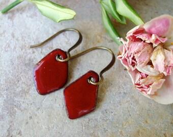 Little Red. Torch Fired Enamel Earrings  Diamond Shaped.
