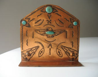 Vintage Stamped Copper and Turquoise Bookend Native American Fred Harvey Thunderbird