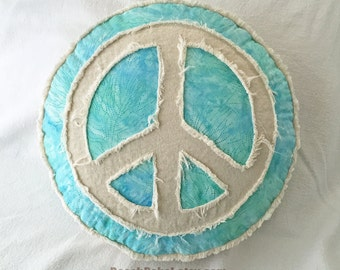 Peace sign boho pillow aqua and seafoam tie dye batik and distressed natural unbleached denim round pillow