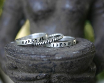 Hand Stamped Ring - Mantra Ring - Name Ring - Personalized Ring