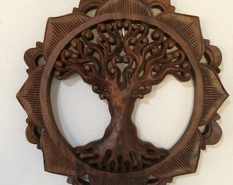Summer sale 20%Off coupon code: SUMMERSALE2017    wood Tree of life hand carved 30cm sacred geometry altar room meditation