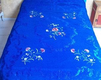 Vintage bed sheet, silk and rayon fabric, ultramarine blue