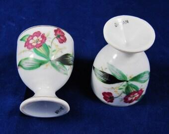 Pair Porcelain Egg Cups, Japan, Floral Decor Gold Trimmed, Delicate, Hand Painted