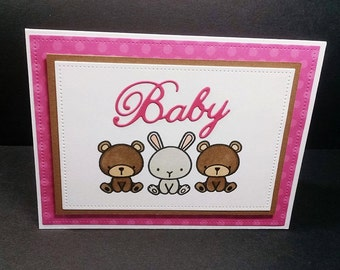 Pink Baby Card with Hand Stamped and Colored Animals - Card for Baby - Girl Baby Card