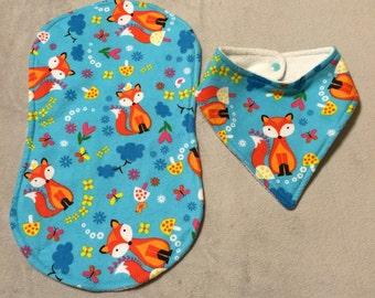 Baby fox bandana bib and burp cloth set