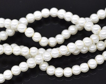 Ivory Glass Pearl Round Beads 4mm, 1 strand of 205-210 beads