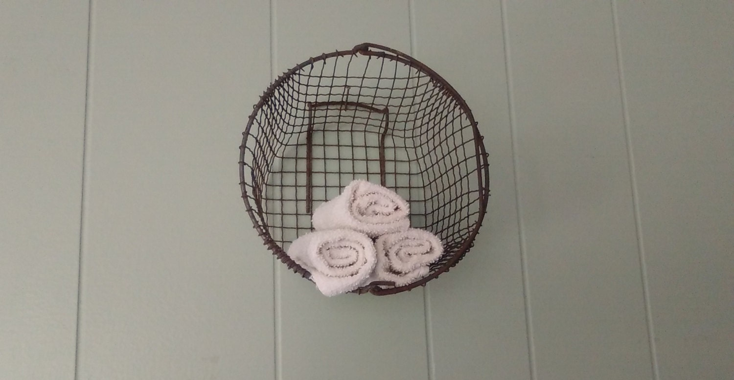 Round Wire Wall Decor : Round wire basket wall hanging storage egg nautical