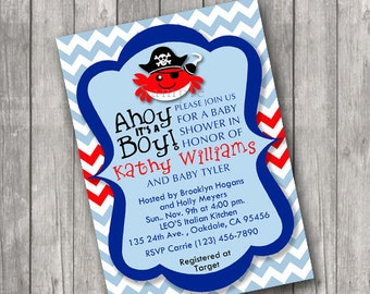 Pirate Crab Ahoy it's a Boy Baby Shower Invitations Invite Printable Personalized Chevron Customized 5x7