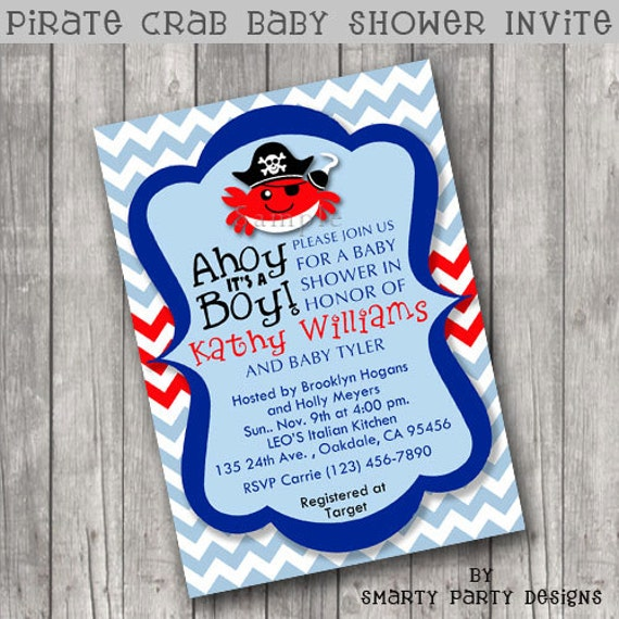 Pirate Crab Ahoy It's A Boy Baby Shower Invitations Invite