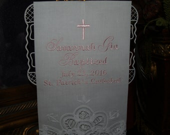 Personalized Christening or Baptismal Towel For Baby Girl or Boy