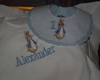 Peter Rabbit Classic Cotton Baby Personalized Romper and Bib For His First Birthday or Easter