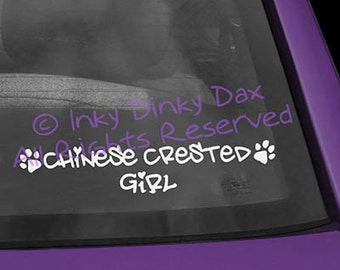 Chinese Crested Girl Vinyl Decal