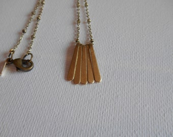 Antique Gold Minimalist Bar Necklace, Gold Bar Necklace, Delicate Chain Necklace