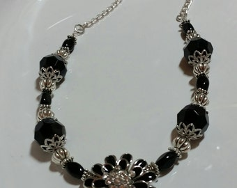 Flower Necklace, black and silver necklace, beaded necklace, chunky necklace, womens necklace, necklaces, half necklace