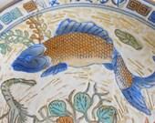 Vintage chinese asian porcelain plate fish koi carp crayfish lily pads gold rim