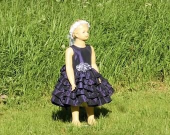 Plum flower girl dress. Purple flower girl dress. Taffeta flower girl dress. Girls ruffle dress Special occasion dress Toddler wedding dress