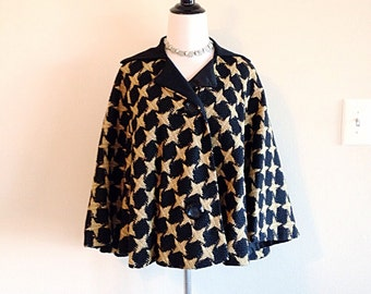 Vintage Mid Century Mad Men Houndstooth Cape