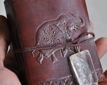 Leather Journal with Hand made paper and Satyaloka satyamani quartz as a closure   8197