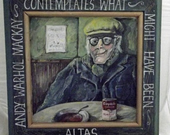 Scottish artist (name unknown) whimsical Painting on Wood - Senior Scot - hat, cap, grey hair, campbell soup can, pub