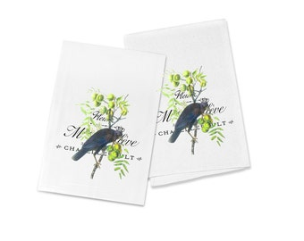 100% Cotton Flour Sack Chef's Kitchen Dish Towel French Olive Branch Crow Great Hostess Gift (one towel)