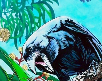 Return of the A'lala, Art, Art Print, Art Reproduction, Bird Art, Raven Art, Crow, Hawaiian Crow