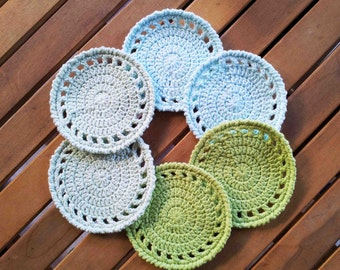 Crochet Coasters in pastel colours, Home décor, Interior Design, Vintage Style, Cottage Style, Nature lover style, New home Retirement gift