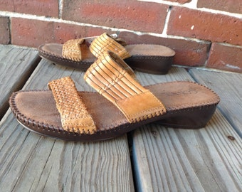 Braided leather sandal slides sz 6.5 by Connie