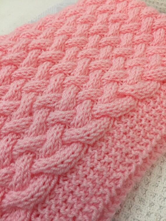 Wicker Basketweave Baby Blanket Knitting Pattern