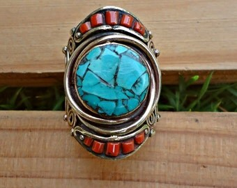 Turquoise ring- Tibetan jewelry- stone ring.Tibet Buddhist Rings. Rings.Tibet Jewelry.Nepalese Jewelry.Stone jewelry- Healing stone ring