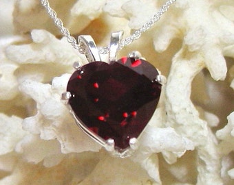 12mm Ruby Pendant, Red Heart Pendant (Lab Created) Solid 925 Sterling Silver