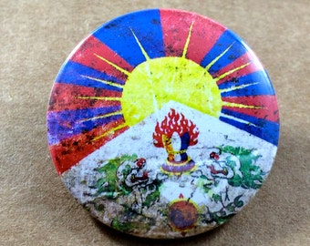 Tibetan Flag 1.25'' Pinback Button Badge or Fridge Magnet, Free Tibet, Dalai Lama, Travel Flags, Backpack Pin, Tibet Keychain, Traveler Gift
