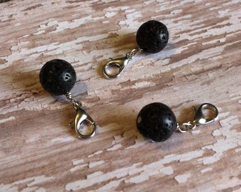 Set of 3 Lava Bead Accent Charms