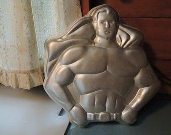 Wilton Superman Cake Pan, Super Hero Baking Tin, Retired, 1977, Beautiful condition, Vintage
