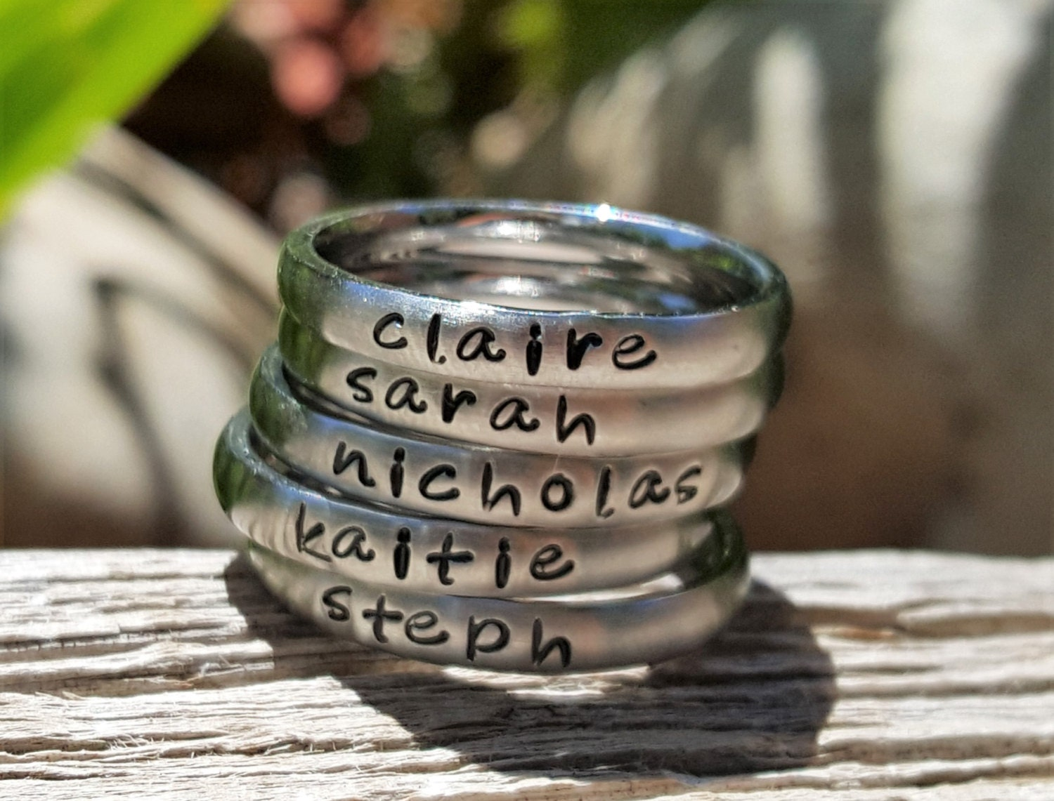 hand stamped name rings personalized stacking ring mothers. Black Bedroom Furniture Sets. Home Design Ideas