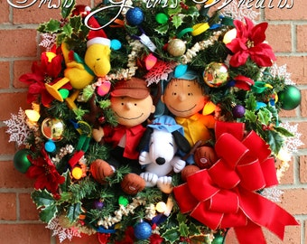 MADE To ORDER Charlie Brown Christmas Wreath, Woodstock, Shepherd Linus, Snoopy, Large Holiday wreath, pre-lit, velvet bow