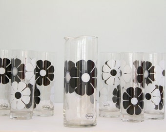 Vintage Colony Daisy Glassware Barware Black and White Set of 9 Pitcher and Tall Tumblers Glasses 1970s