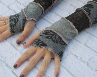 Black Lace Long Fingerless Gloves - Music Festival Clothing - Wrist Warmers - Arm Warmers - Womens Long Fingerless Gloves - Cosplay
