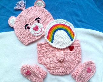 Crochet Pink Care Bear Costume Cheer Bear Baby Outfit Set