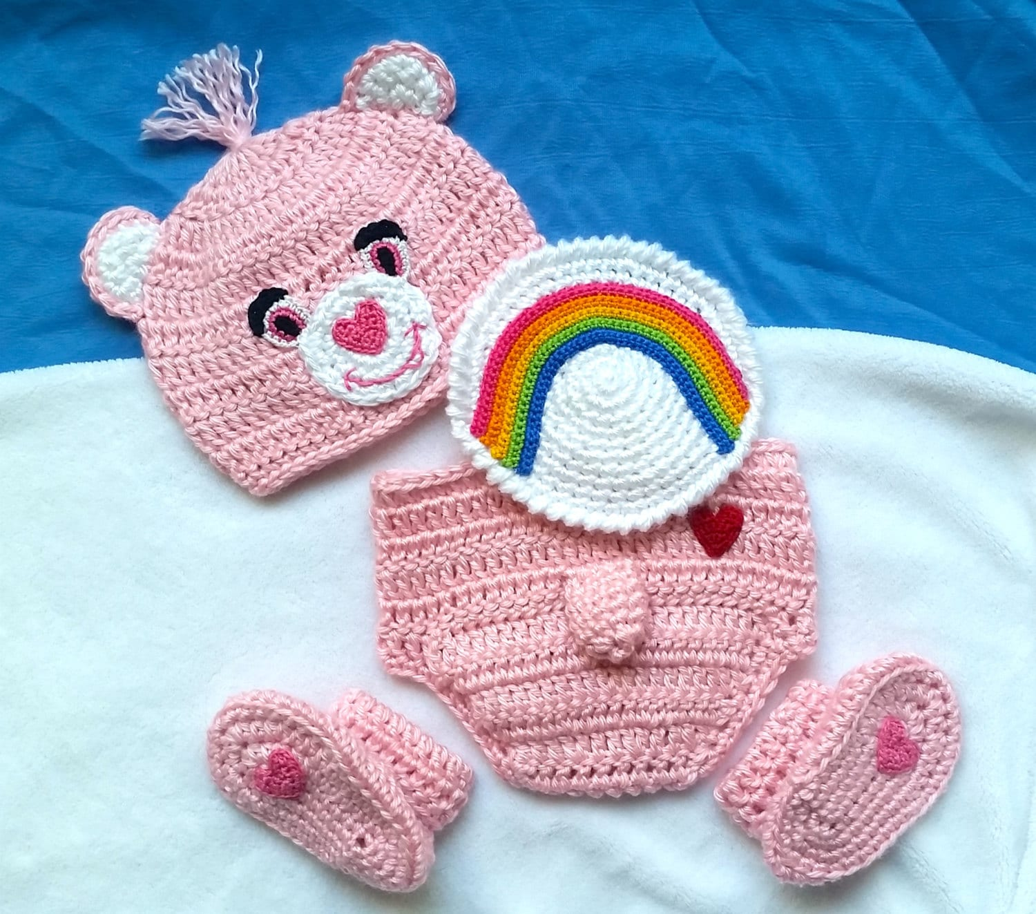 Crochet pink care bear costume cheer bear baby outfit set zoom bankloansurffo Choice Image
