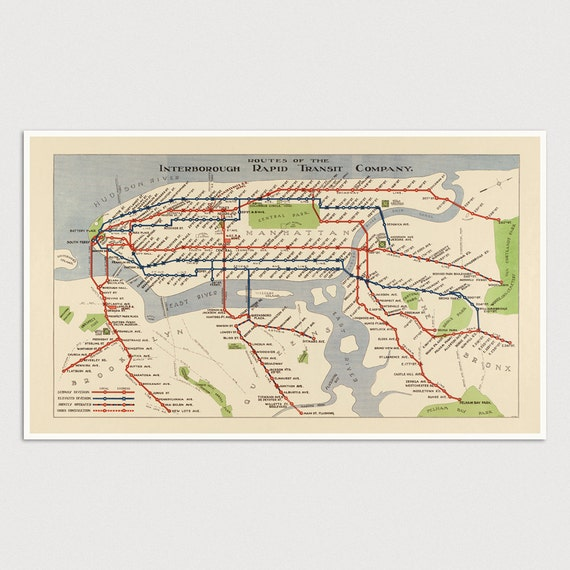 Old New York City Subway Map Art Print 1924 Antique Map Archival Reproduction