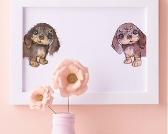 Double Peekaboo Sausage dog Illustration