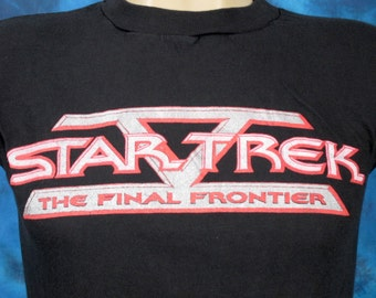 XS*** vintage 80s STAR TREK V: The Final Frontier Movie Promo T-Shirt sci fi tv show series alien science fiction soft thin
