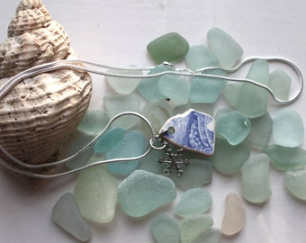 beach pottery blue willow pattern sea glass china snake chain necklace snow flake