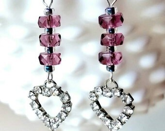 Purple Crystal and Rhinestone Heart Earrings