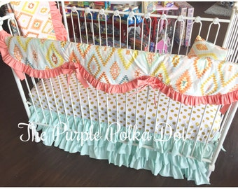 White and Gold Dot Fitted Crib Sheet
