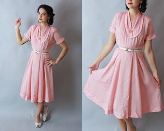 1940s NYLON DRESS | Vintage 40s 50s Red & White SHEER Day Dress | small