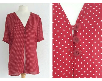 Vintage 90s Red Polka Dot Blouse - UK 14 EU 42/44 US 10 - Julie Guerlande